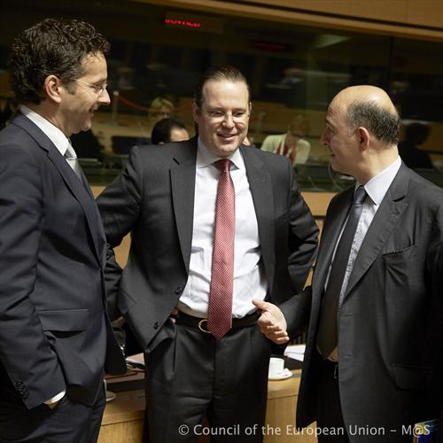 ECOFIN Council, Luxembourg, 21/6/2013. (From left to right), Jeroen Dijsselbloem President of the Eurogroup, Anders Borg, Swedish Minister for Finance, Pierre Moscovici, French Minister of Finance. (Council of the European Union photographic library).