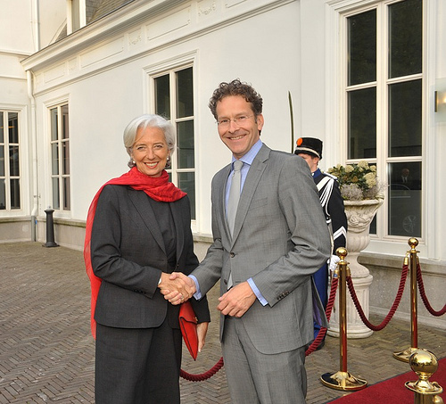 Two fateful people for Greece. International Monetary Fund's Managing Director, Christine Lagarde (L) meets with Dutch Minister of Finance and president of Eurogroup, Jeroen Dijsselbloem. (International Monetary Fund photographic library)