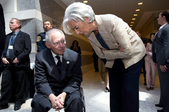 International Monetary Fund Managing Director Christine Lagarde (R) speaks the German Finance Minister Wolfgang Schäuble (L) during a break from the IMFC meeting as Finance Ministers and Bank Governors meet at the IMF Headquarters April 20, 2013 in Washington, DC. The ministers and governors are attending the IMF/World Bank Spring Meetings in Washington. (IMF Photo/Stephen Jaffe).