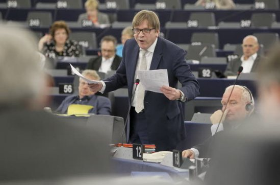 Guy Verhofstadt, the Belgian leader of the ALDE group, talking in the plenary session of the European Parliament in Strasbourg - Debate on the future of the European Union. (EU Parliament photographic library).
