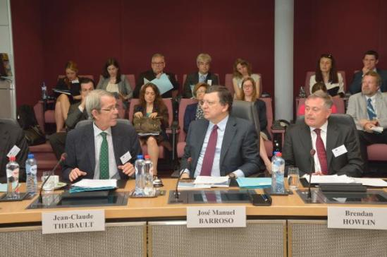 José Manuel Barroso, President of the European Commission (in the middle), participated in a High-Level Seminar on Innovation together with Brendan Howlin, Irish Minister for Public Expenditure and Reform (on the right). The event was organised by the Bureau of European Policy Advisers (BEPA) and its Director General, Jean-Claude Thébaut (on the left). (EC photographic library, 8/7/2013).