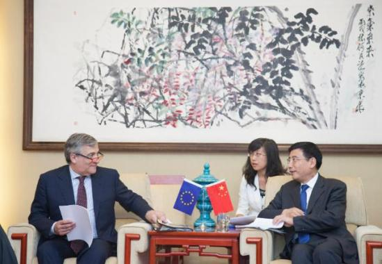 Visit of Antonio Tajani, Vice_president of the European Commission (on the left), and Janez Potočnik, Member of the European Commission (not pictured), to China. Here Tajani meets Miao Wei, Chinese Minister for Industry and Information Technology (EC Audiovisual 18/7/2013).