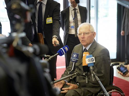 Wolfgang Schauble, German Federal Minister for Finance talking to Press before joining yesterday's Eurogroup (Council of the European Union photographic library, 8/7/2013).