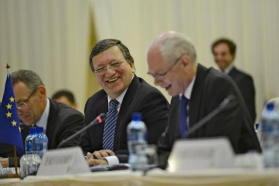 José Manuel Barroso, President of the European Commission with Herman van Rompuy, President of the European Council, in the EU/South Africa Summit (from left to right). (EC Audiovisual Services, 18/7/2013).