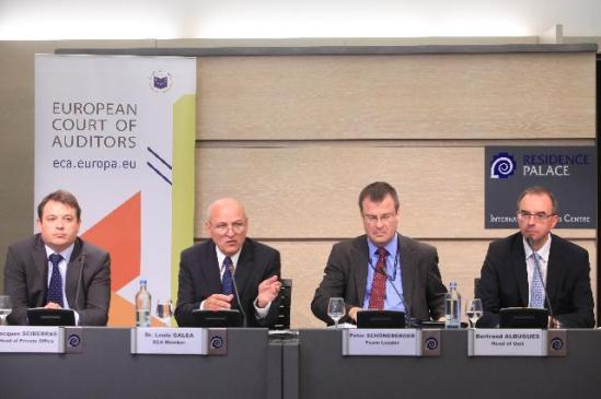 """Louis Galea, Member of the European Court of Auditors, second from left, gave a press conference following the publication of the ECA special report 12/2012 entitled """"Did the Commission and Eurostat improve the process for producing reliable and credible European statistics?"""" The audit of the Court focused on the process of producing European statistics. It did not assess the reliability of specific statistical outputs. The other participants of the conference were: Jacques Sciberras, first from left, Head of cabinet of Louis Galea, Peter Schöneberger, Team Leader at the European Court of Auditors, seconf from right and Bertrand Albugues, Head of Unit at the European Court of Auditors, first from right. (EC Audiovisual Services)."""