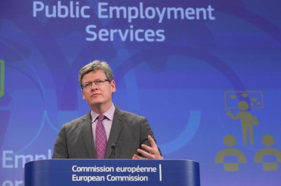 Press conference by László Andor, Member of the European Commission, on the implementation of a network of public employment services to boost job creation. (EC Audiovisual Services, 17/06/2013).