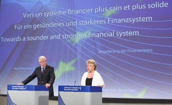 Joint press conference by Viviane Reding, Vice-President of the EC, and Michel Barnier, Member of the EC, on the amended proposal for a Directive on Criminal Sanctions for Insider Dealing and Market Manipulation, (EC Audiovisual Services).