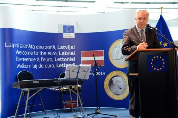 Olli Rehn, Vice-President of the EC in charge of Economic and Monetary Affairs and the Euro, participated in the festivities to celebrate the enlargement of the euro area to include Latvia as from 1 January 2014. (EC Audiovisual 9/7/2013).
