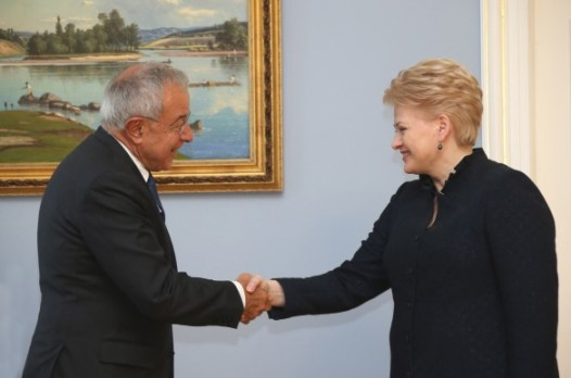 Lithuanian President Dalia Grybauskaitė, whose country currently holds the rotating Presidency of the European Union's Council, met with the Chairman of the European Parliament's Committee on Budgets, Alain Lamassoure in Vilnius. (Lithuanian Presidency's photographic Library, 19/9/2013)