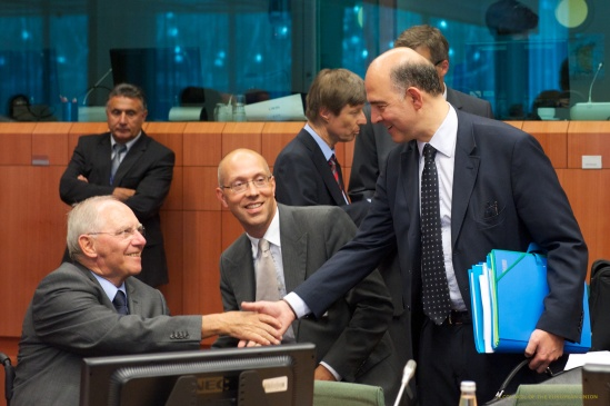 Eurogroup Meeting. Wolfgang Schauble, German Federal Minister for Finance, Jorg Asmoussen, Member of the Executive Board of the European Central Bank and Pierre Moscovici, French Minister of Finance, from left to right. (Eurogroup Photographic Library 08.07.2013).