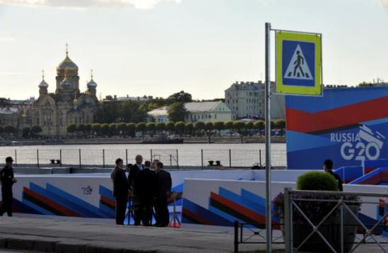 G20 Summit in Russia. A view of the Church of the Assumption of the Blessed Mother of God in Saint Petersburg, in the background, on the left. (EC Audiovisual Services, 5/9/2013).