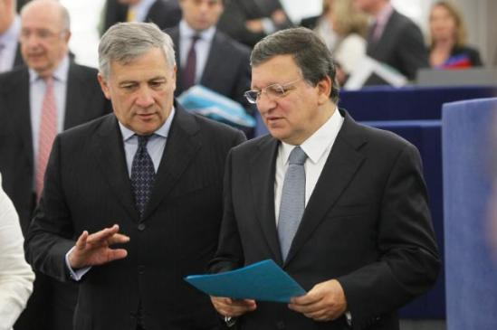 "Discussion between José Manuel Barroso, President of the European Commission and Antonio Tajani, Vice-President of the EC in charge of Industry and Entrepreneurship (in the foreground, from right to left), minutes before Barroso delivered a speech on the ""State of the Union Address 2013"" at the plenary session of the European Parliament in Strasbourg. (EC Audiovisual Services 11/09/2013)."