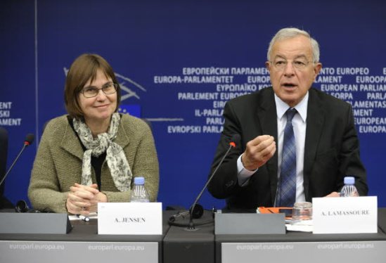 The European Parliament rapporteur on 2014 EU Budget, Anne E. Jensen (ALDE, DK) and Alain Lamassoure (EPP, FR),  Chair of the BUDG Committee on Budgets of the European Parliament,  are holding a Press conference on the Multiannual Financial Framework 2014-2020 for the next seven EU budgets (European Parliament's Audiovisual Services).