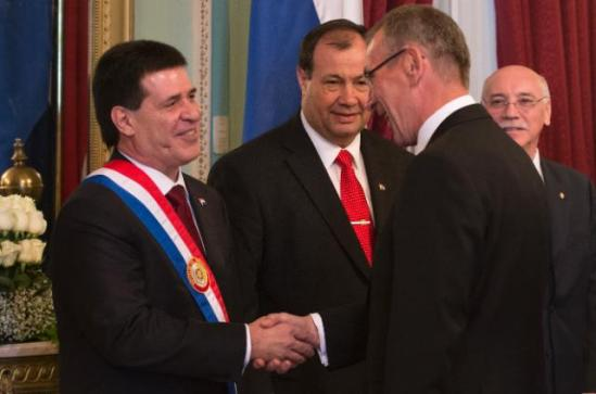 Andris Piebalgs, Member of the European Commission in charge of Development, went to Asunción to represent the EU in the ceremony of inauguration of Horacio Cartes, who was elected President of Paraguay in April this year. (EC Audiovisual Services 15/08/2013).