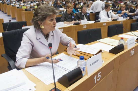 European Parliament. ECON Committee meeting - Debate with National Parliaments. In the foreground Elisa Ferreira (S&D, PT), ECON Rapporteur on the rules dealing with struggling banks. (EP Audiovisual Services).