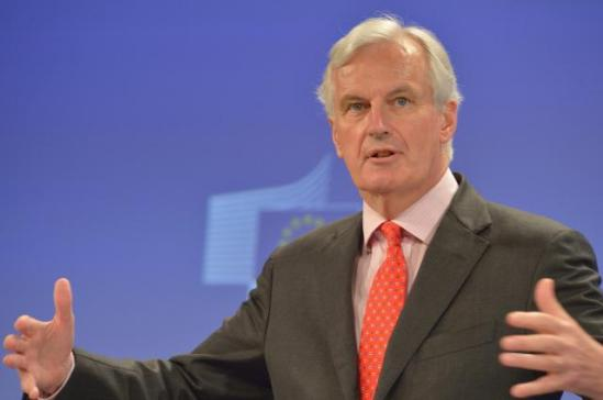 Press conference by Michel Barnier, Member of the European Commission, on the establishment of a Single Resolution Mechanism for the Banking Union. He is probably showing the dimensions of connections between governments and banks. (EC Audiovisual Services).