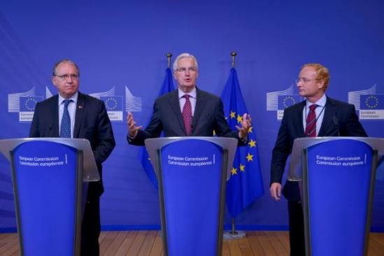 Michel Barnier, Member of the European Commission in charge of Internal Market and Services (in the centre), Benoît Battistelli, President of the European Patent Office (EPO) (first from left), and António Campinos, President of the Office for Harmonization in the Internal Market (OHIM) and Chairman of the Board of Directors of the Center for International Intellectual Property Studies (CEIPI), gave a joint press conference following the publication of a study on Intellectual Property Rights. (EC Audiovisual Services 30/9/2013).