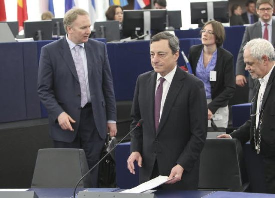 European Central Bank President Mario Draghi (in the foreground) attends a plenary session of the European Parliament in Strasbourg. (EP Audiovisual Services).