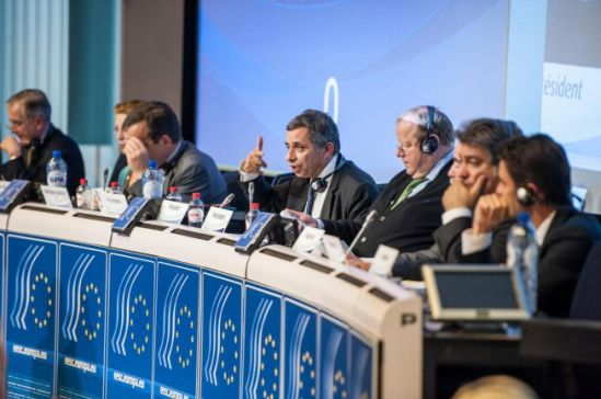 European Economic and Social Committee. Plenary session of 16-17 October 2013. President Henri Malosse (pointing a finger) opens the session. (EESC photographic gallery).