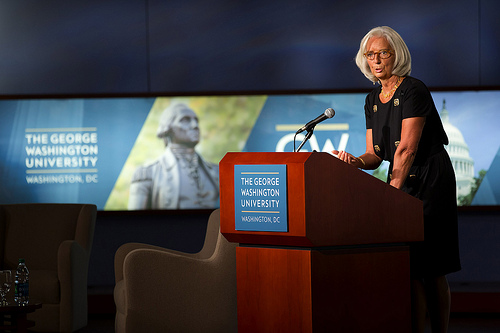 International Monetary Fund Managing Director Christine Lagarde speaks at George Washington University in Washington, DC October 3, 2013. (IMF Staff Photograph/Stephen Jaffe).