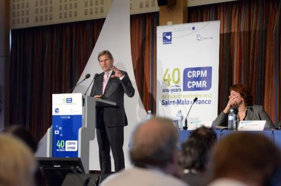 Johannes Hahn, Member of the EC in charge of Regional Policy, went to Saint Malo to participate in the 41th General Assembly and the 40th anniversary of the Conference of Peripheral and Maritime regions (CRPM) of Europe. (EC Audiovisual Services, 26/09/2013).
