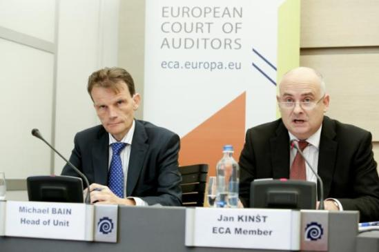 "Press conference by Jan Kinšt, Member of the European Court of Auditors (on the right) and Mikael Bain, Head of Unite by the ECA. They presented a report entitled, ""Have the Members States and the Commission achieved value for money with the measures for diversifying the rural economy?"""