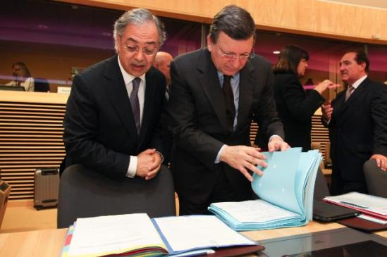 José Manuel Barroso, President of the European Commission (on the right), and Vítor Caldeira, President of the European Court of Auditors, participated in the annual joint meeting between the Court of Auditors and the College of the EC. (EC Audiovisual Services).