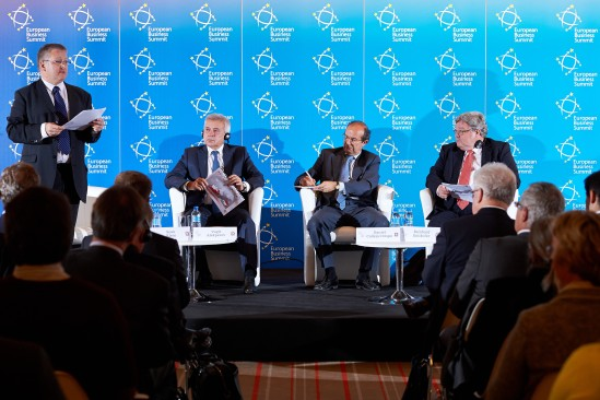 From left to right: Stephen Fidler, Brussels Bureau Chief at the Wall Street Journal, Vagit Alekperov, President of Lukoil, Daniel Calleja Crespo, Director-General for Enterprise and Industry at the European Commission & Reinhard Butikofer, MEP, Group of the Greens/European Free Alliance. European Business Summit Launch Event 2014, Square - Brussels Meeting Centre, from left to right (EBS)