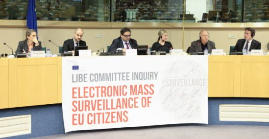 European Parliament. Committee on Civil Liberties, Justice and Home Affairs, LIBE, meeting. Discussion on Electronic Mass Surveillance of EU Citizens by the NSA. Moraes, Claude (third from left), Constanze Kurz, Dominique Guibert, Nick Pickles. (EP Audiovisual Services, 14/10/2013).