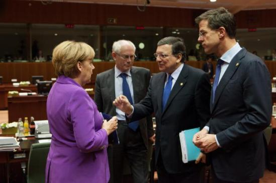 "Discussion between Angela Merkel, German Federal Chancellor, on the left, and José Manuel Barroso President of the European Commission, 2nd from the right, in the presence of Mark Rutte, Dutch Prime Minister, on the right, and Herman van Rompuy President of the European Council. Barroso and several heads of states or governments of the EU discussed on a report entitled ""Cut EU red tape"", published by the British Government on 15/10/2013, which presented 30 priority recommendations of EU regulations. During the joint final press conference José Manuel Barroso outlined discussions which took place on access to finance for SMEs and the regulatory fitness. (EC Audio-visual Services)"