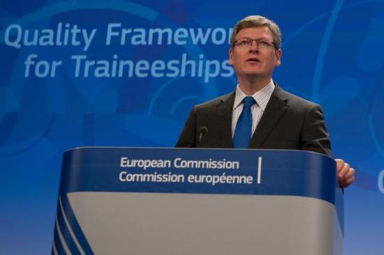 László Andor, Member of the European Commission in charge of Employment, Social Affairs and Inclusion gave a Press conference on the EC proposal for a Council Recommendation on a Quality Framework for Traineeships. (EC Audiovisual Services, 4/12/2013).