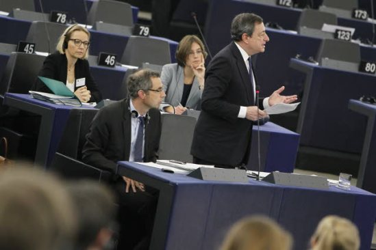 European Parliament in Strasbourg. Plenary Session. Week, 50, 2013 –European Central Bank annual report for 2012. Presentation by ECB's President Mario Draghi, pictured here answering questions by MEPs. (EP Audiovisual Servises 12/12/2013).