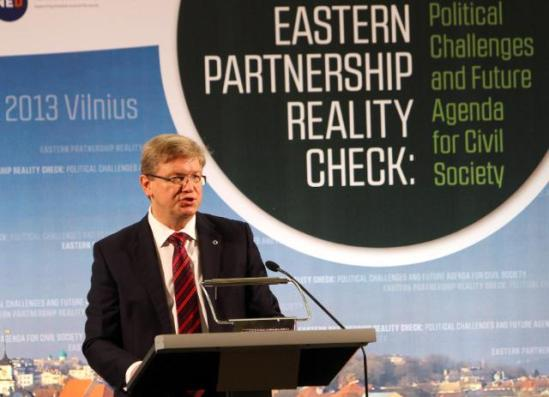 Štefan Füle, Member of the European Commission in charge of Enlargement and European Neighbourhood Policy, speaking at the 3rd Eastern Partnership Summit in Vilnius. (EC Audiovisual Services).