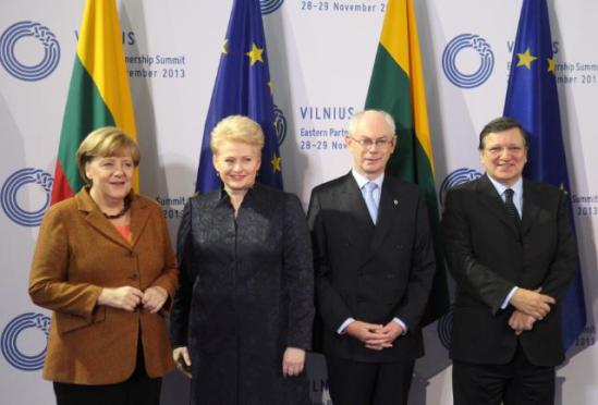 José Manuel Barroso, President of the European Commission, (on the right), Herman van Rompuy, President of the European Council (second from right), Dalia Grybauskaitė, President of Lithuania and President in office of the Council of the EU, and Angela Merkel, German Chancellor (on the left). They all participated in the 3rd Eastern Partnership Summit in Vilnius. (EC Audiovisual Services 29/11/2013).