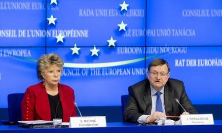 From left to right: Viviane Reding, Vice President of the European Commission, responsible for Justice, Fundamental Rights and Citizenship and Juozas Bernatonis, Lithuanian Minister of Home Affairs. Lithuania presently holds the EU rotating Presidency in the Council. (Council of the European Union photographic library, 06/12/2013).