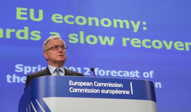 Olli Rehn, Vice-President of the European Commission in charge of Economic and Monetary Affairs and the Euro, gave a press conference on the spring economic forecasts (EC Audiovisual Services).