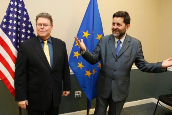 "Dan Mullaney, Chief US Negotiator (on the left) and Ignacio Garcia Bercero, Chief EU Negotiator held the third round of negotiations aimed at the establishment of a ""Transatlantic Trade and Investment Partnership"" (TTIP), in Washington from Monday 16 to Friday 20 December 2013. Bercero seems to say, 'what did you expect that there will be no cost'? (EC Audiovisual Services, 16/12/2013)."