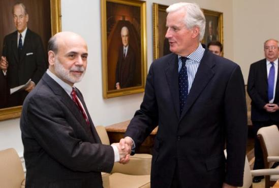 Michel Barnier, Member of the European Commission in charge of Internal Market and Services (on the left), went to Washington where he met with Ben Bernanke, Chairman of the Board of Governors of the US Federal Reserve (FED). (EC Audiovisual Services 11/05/2010).