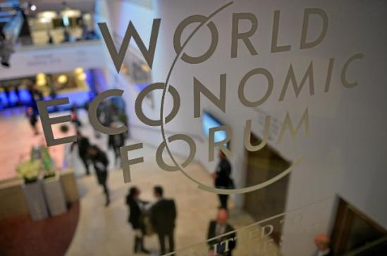 The logo of the World Economic Forum (WEF) in Davos, on a pane. (EC Audiovisual Services, 22/01/2014).