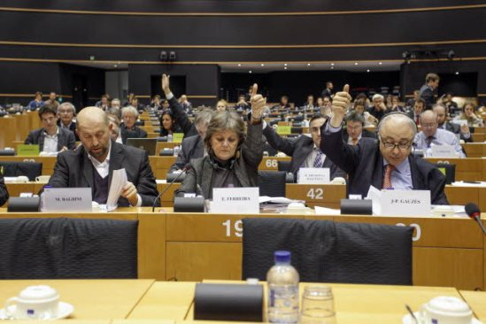 European Parliament. Economic and Monetary Affairs Comittee (ECON) meeting. Vote on the bank single resolution mechanism and fund. In the forefront Baldini Marino (S&D, HR), Fereira Elisa (S&D, PT) and Gauzes Jean-Paul (EPP, FR) vote by a show of hands. (EP Audiovisual Services, 17/12/2013).