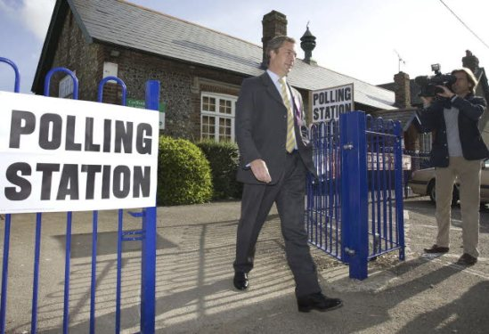 Nigel Farage, leader of the UK Independence Party, UKIP, seen voting at his local pooling Station in Berrys Green in Southern England. (EP Audiovisula Services).