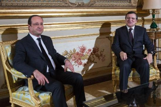 Meeting in the Champs Elysees Presidential Pallas between François Hollande, President of the French Republic, and José Manuel Barroso, President of the European Commission. (EC Audiovisual Services, 07/01/2014).