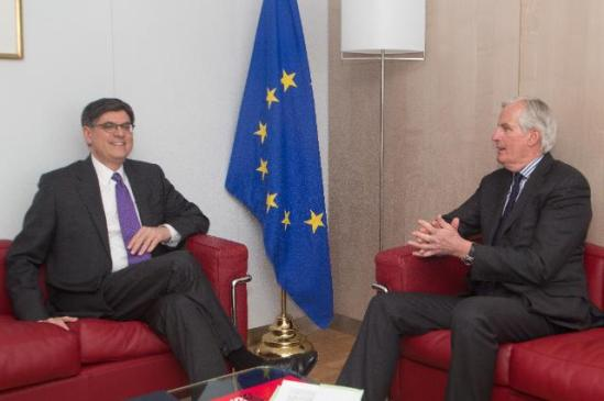 Jack Lew, US Secretary of the Treasury (on the left), and Michel Barnier, Member of the EC in charge of Internal Market and Services. (EC Audiovisual Services).