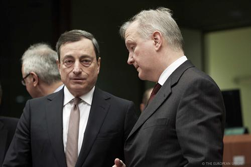 "From left to right: Mario Draghi, President of the European Central Bank, Olli Rehn, Vice President of the European Commission. (""The Council of the European Union"" photographic library, 27/01/2014)."