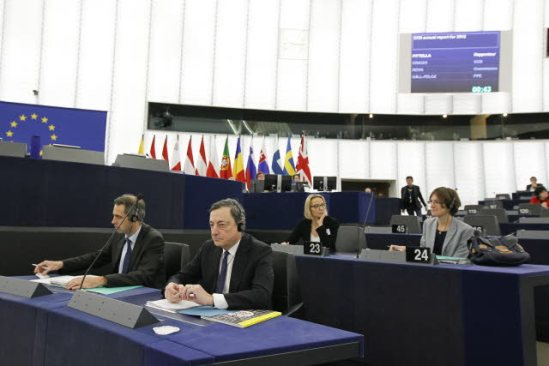 European Parliament. Plenary Session Week 50, 2013 - European Central Bank annual report for 2012, presented by its President Mario Draghi, pictured here in the foreground (on the right). (EP Audiovisual Services 12/12/2013).