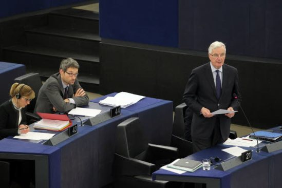European Parliament. Plenary session, week 9, 2014 in Strasbourg. Discussion and vote of amendments on insurance mediation. Commissioner Michel Barnier in charge of Internal Market and Services, has the floor. (EP Audiovisual Services, 26/2/2014).