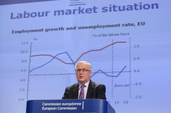Press conference by Olli Rehn, Vice-President of the European Commission, on the winter economic forecasts for 2013-2014. (EC Audiovisual Services, 25.2.2014).