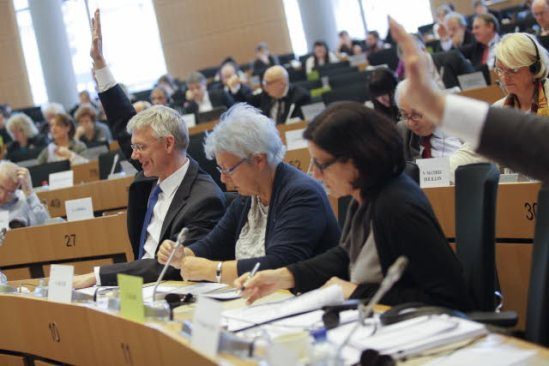 European Parliament. Committee on Civil Liberties, Justice and Home Affairs (LIBE) and Committee on Economic and Monetary Affairs (ECON) joint meeting. Vote by a show of hands. (EP Audiovisual Servises, 20/02/2014).