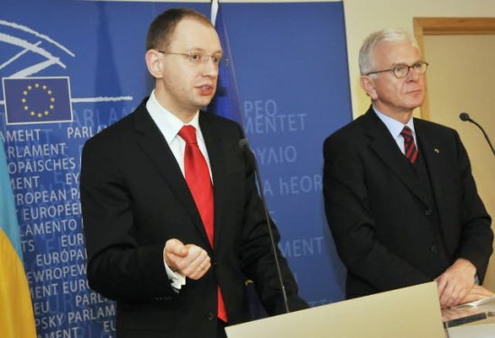 European Parliament, 26 February 2008.Press conference following the EP President's meeting with the President of the Parliament of Ukraine Arseniy Yatsenyuk (on the left), here pictured with Hans Gert Poettering – the then EP President. Yesterday, Arseniy Yatsenyuk was named by the Maidan Prime Minister of his country.