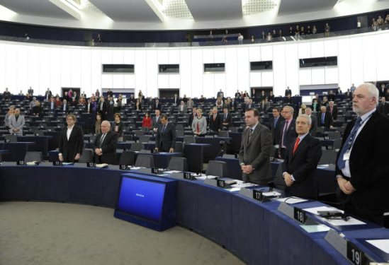European Parliament. Plenary session in Strasbourg. Opening session of 7th Parliamentary Term with a 'Minute of Silence', in memory of the victims of police violence in Kiev's Independence Square. (EP Audiovisual Services, 24/2/2014).